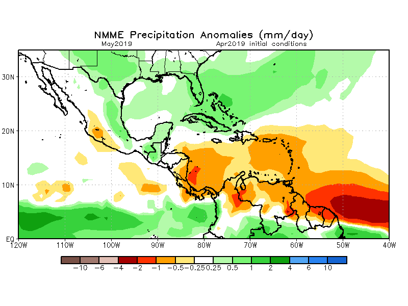 Above average rainfall is expected  in Guatemala in May