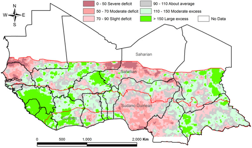 Figure 2. Rainfall estimate (RFE) anomaly compared to the 2005-2009 mean, September 2014