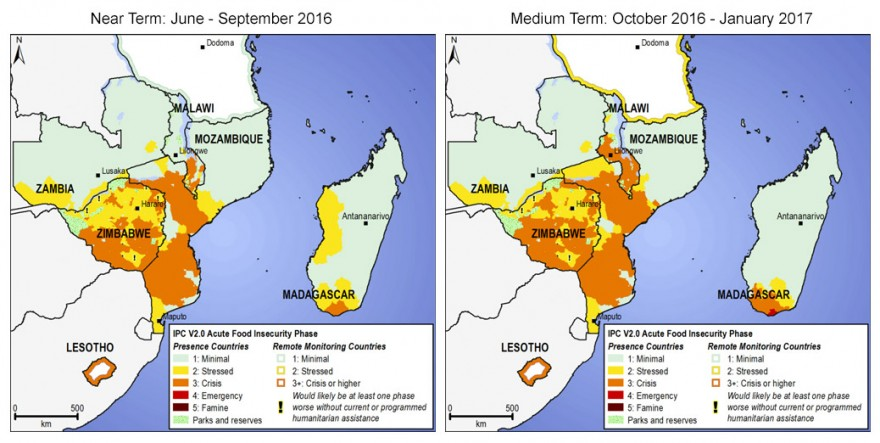 Southern Africa Food Insecurity Map