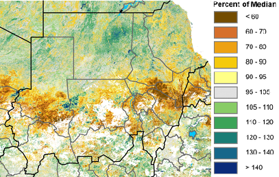 Figure 1. Normalized Difference Vegetation Index (NDVI) anomaly, percent of median (2007-2016), August 11-20, 2017