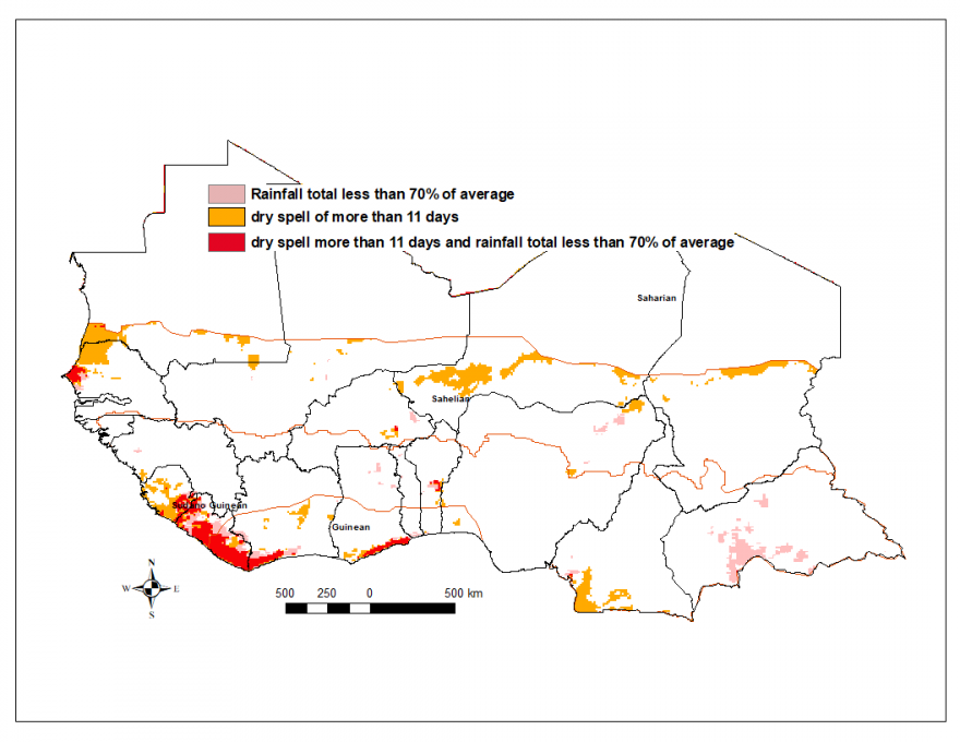 Graphic of total rainfall estimate (RFE) anomaly and dry spells, 3nd dekad of June to 2nd dekad of July. Areas with dry spells along the coast of the Gulf of Guinea.