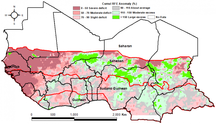 RFE rainfall estimate anomalies show severe deficit in the Gulf of Guinea countries into southern Mauritania, moderate and slight deficit in Mali and large excess in parts of eastern Mali, southern Niger, northern Nigeria and central Chad