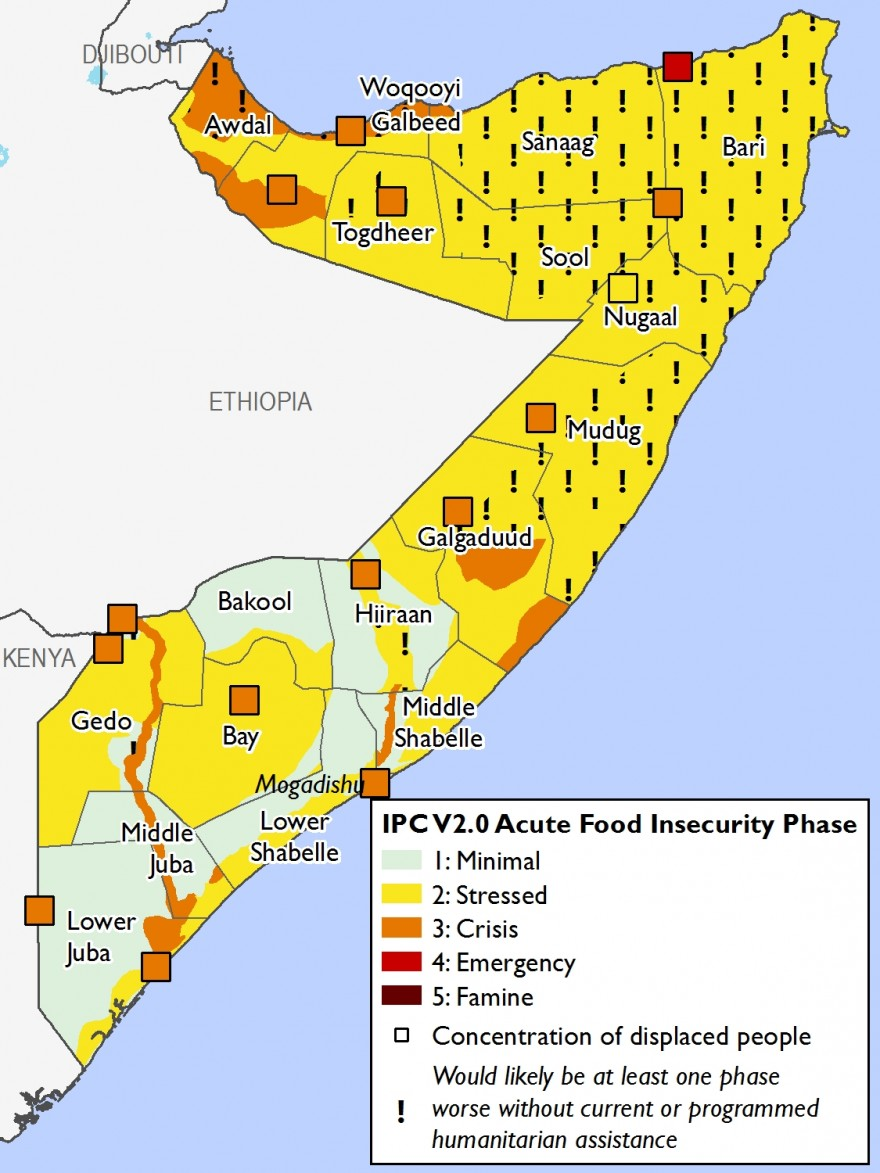 The map depicts current food secuirty outcomes across Somalia. Most areas are Stressed (IPC Phase 2) with northern and central pastoral areas in Stressed (IPC Phase 2!) indicating humanitarian assistance is preventing worse outcomes. Southern pastoral are