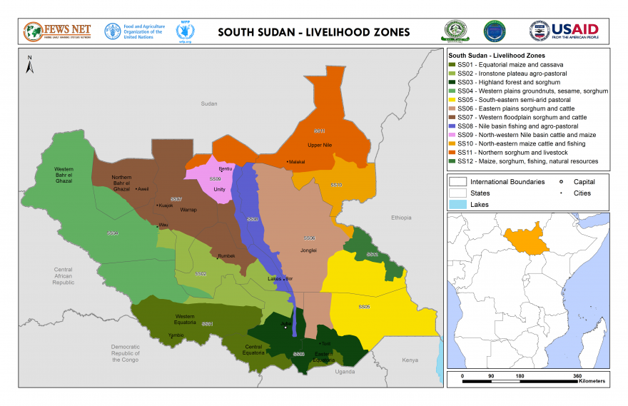 South Sudan Livelihood zone map
