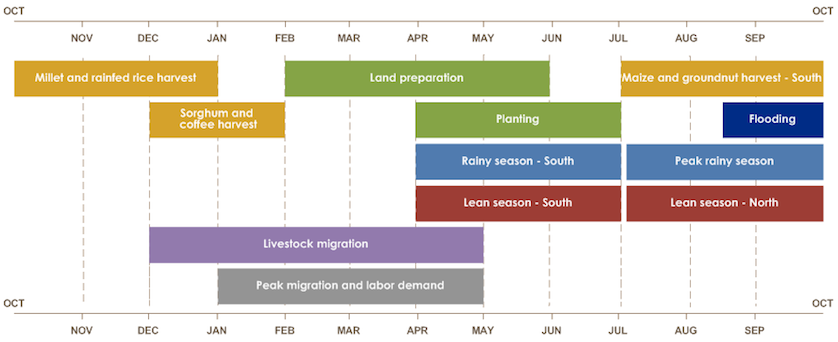 Maize and groundnut harvest is July through September. Millet and rainfed rice harvest is October through December. Sorghum and coffee harvest is December and January. Lean season is April through June in the south and July through September in the north.