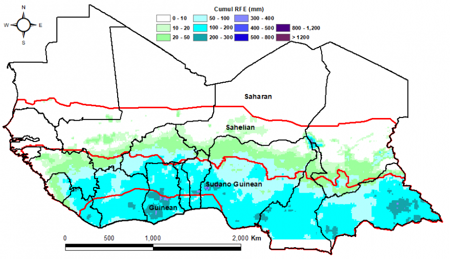 Map of the Total rainfall estimate (RFE) in mm, 1st dekad of April to 1st dekad of May: Average rainfall coverage across the Gulf of Guinea countries and moving northward into the Sahel