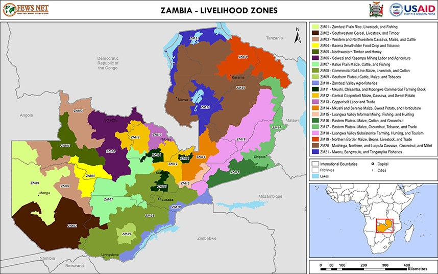 Zambia Livelihood Zone Map Tue 20140701 Famine Early Warning