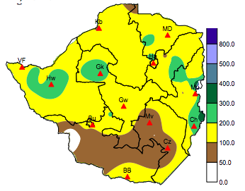 Accumulated rainfall between October and December 19, 2012