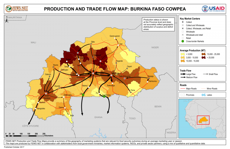 Burkina Faso Cowpea Production and Trade Flow Map