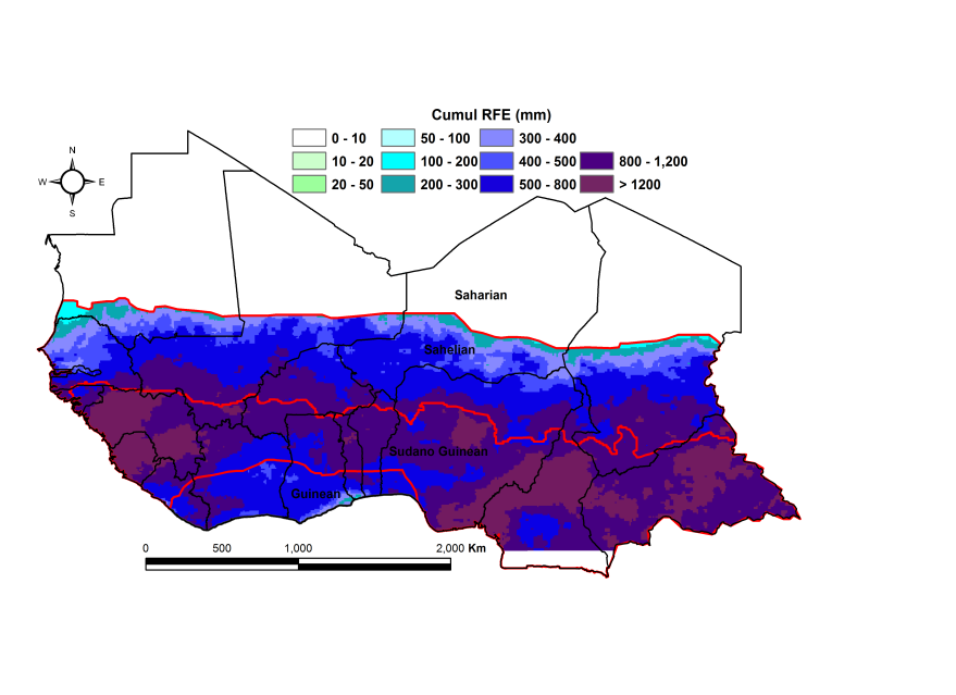 Figure 1:  Total rainfall estimate (RFE) in mm, 1st dekad of April-2nd dekad of September