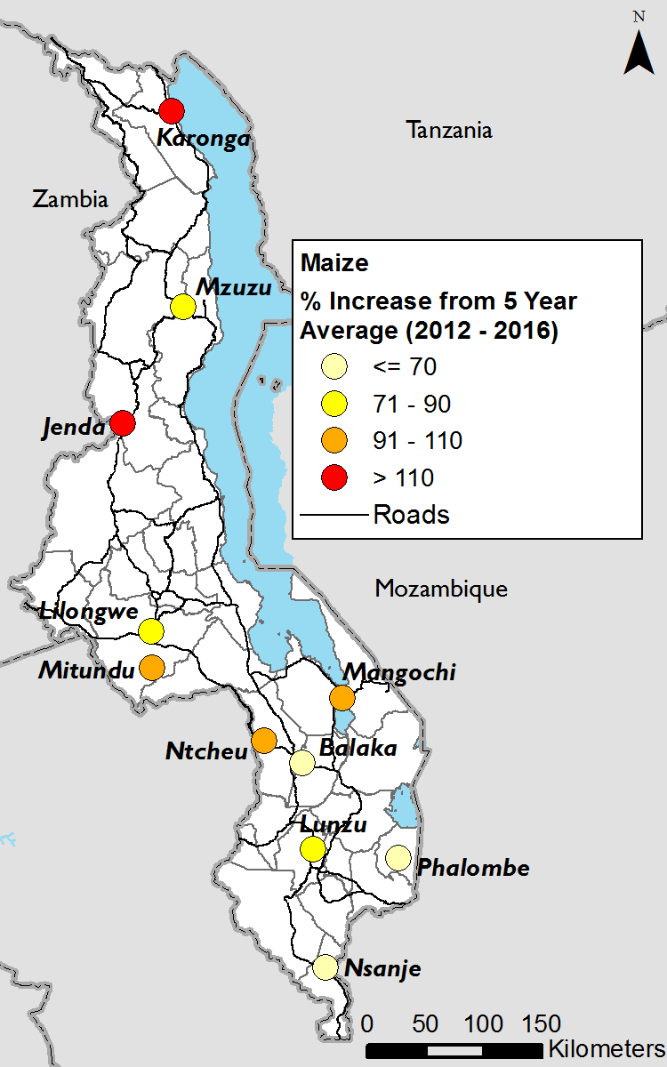 Figure 3. January maize prices, percent increase from five-year average.