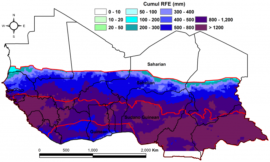 Figure 1:  Total rainfall estimate (RFE) in mm, 1st dekad of April-2nd dekad of October