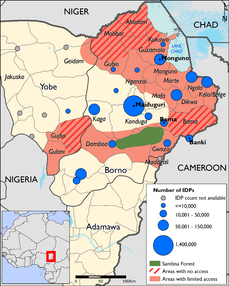 Figure 1.  IDP concentrations and areas of concern in NE Nigeria