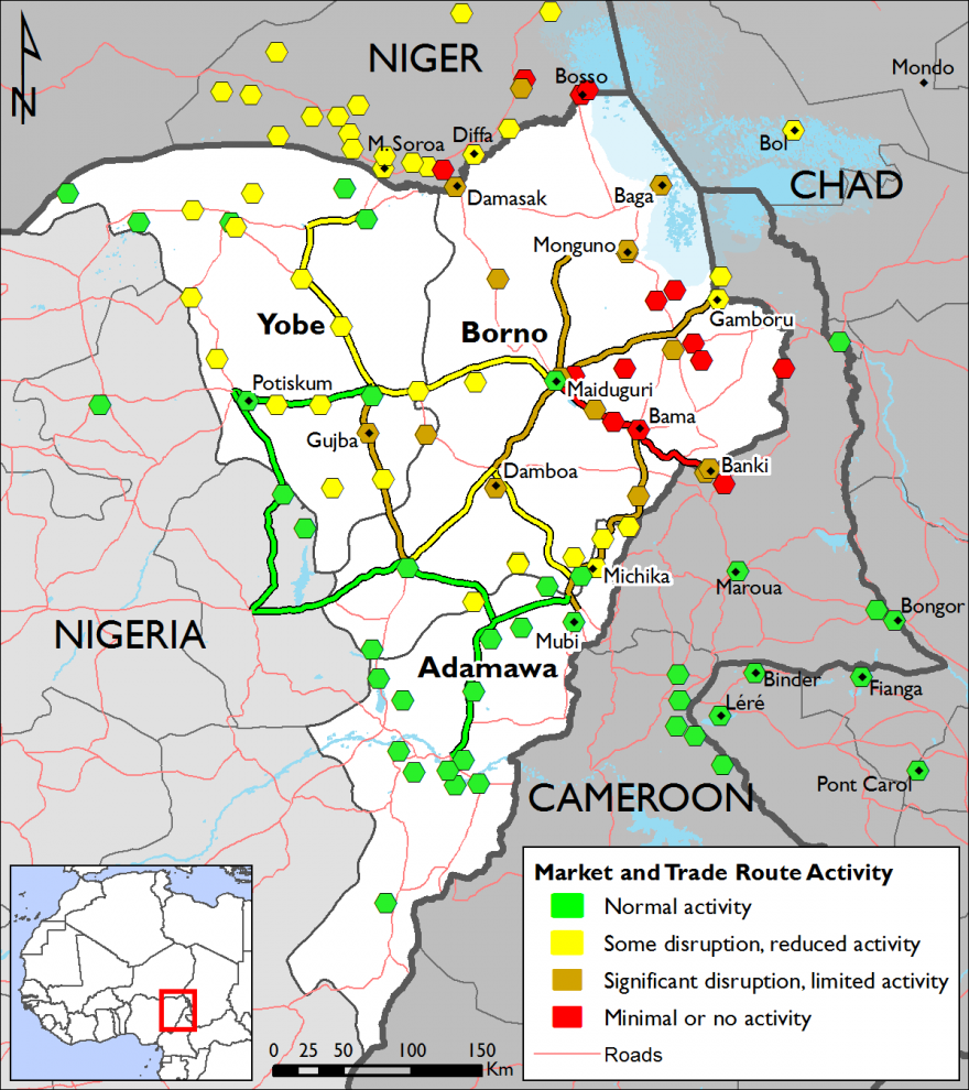 Figure 2. Lake Chad region market and trade route activity, June 2017