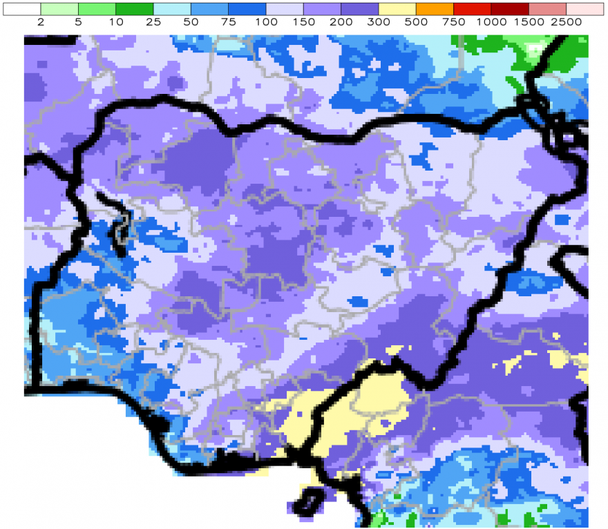 Figure 2. ARC2 30-Day Total Rainfall (mm) – August 1, 2015