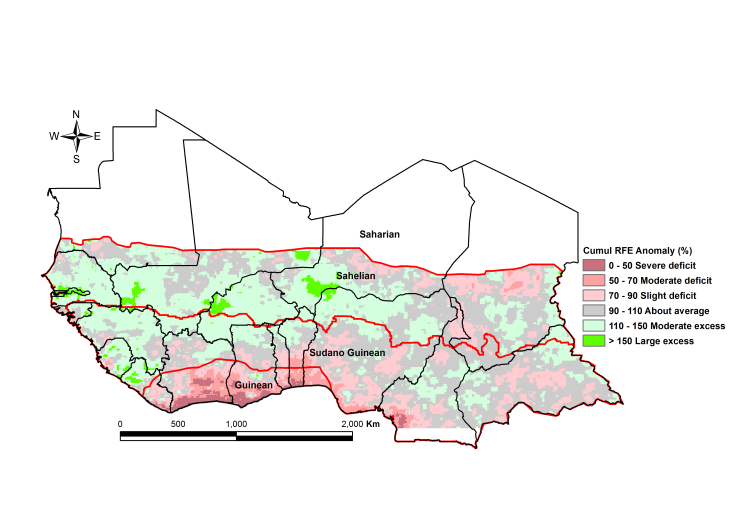 Figure 2. Rainfall estimate (RFE) anomaly compared to the 2010-2014 mean, 1st dekad of July - 1st dekad of October