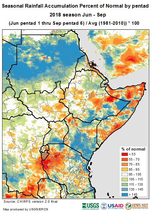 This rainfall map show that rainfall during the June to September season was above-average in Kiremt-recieving areas with the exception of parts of western and central Oromia where it was up to 30 percent below average.