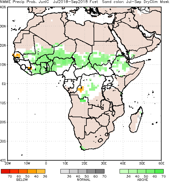 Rainfall is forecast to be above average for most of Africa for the June to September period. The exception is for Senegal, where below average rainfall is forecast.