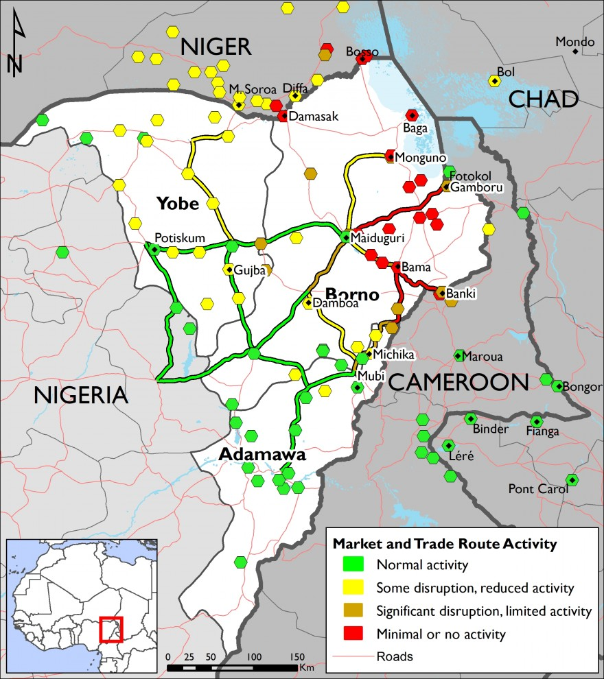Market and trade route functioning disruptions are most prevelent in eastern and northern Borno state. There are also significant disruptions in northern Yobe and northern Adamawa, as well as the Diffa region of Niger.