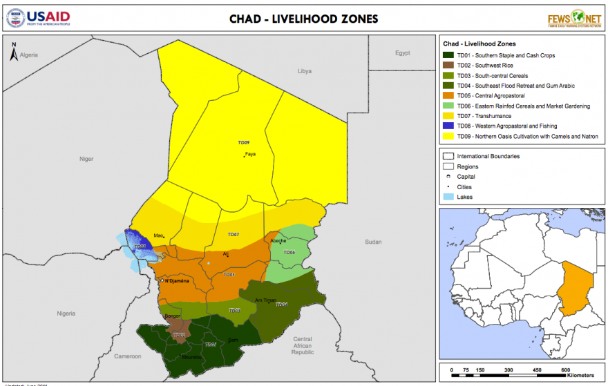 Chad Livelihood Zone Map Mar Famine Early Warning - Chad map