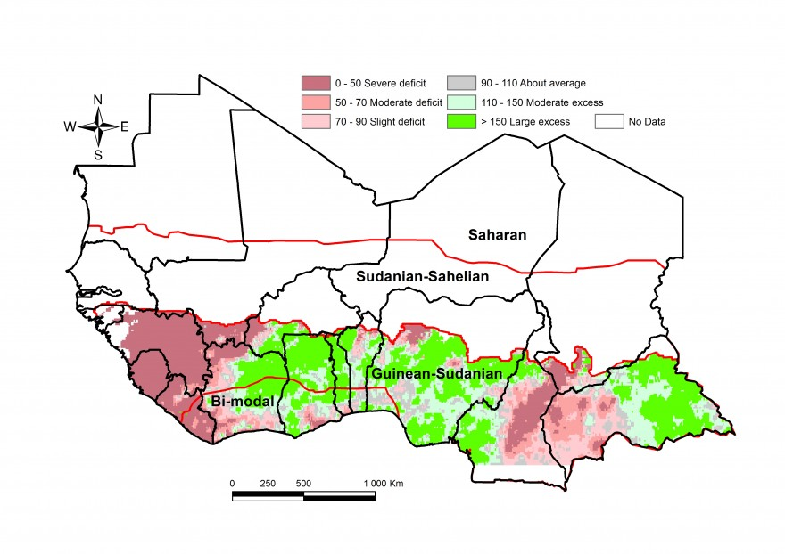 Figure 2. Rainfall estimate (RFE) anomaly compared to the 2001-2010 mean, 3rd dekad of Feb to 3rd dekad of March