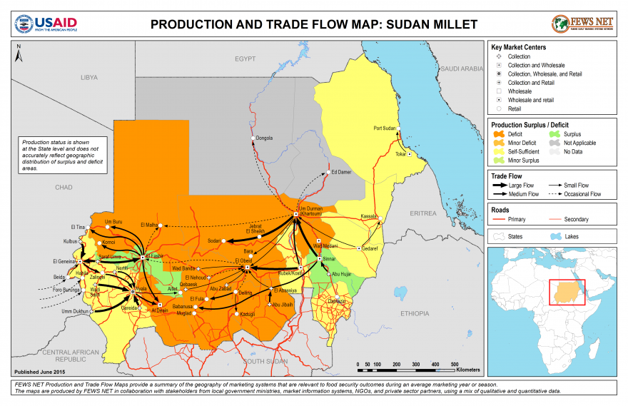 Sudan Millet Production and Trade Flow Map
