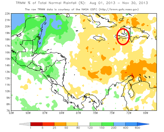 Figure 1. Total Rainfall Anomaly in Percent (%) (August 1 to  November 13, 2013)