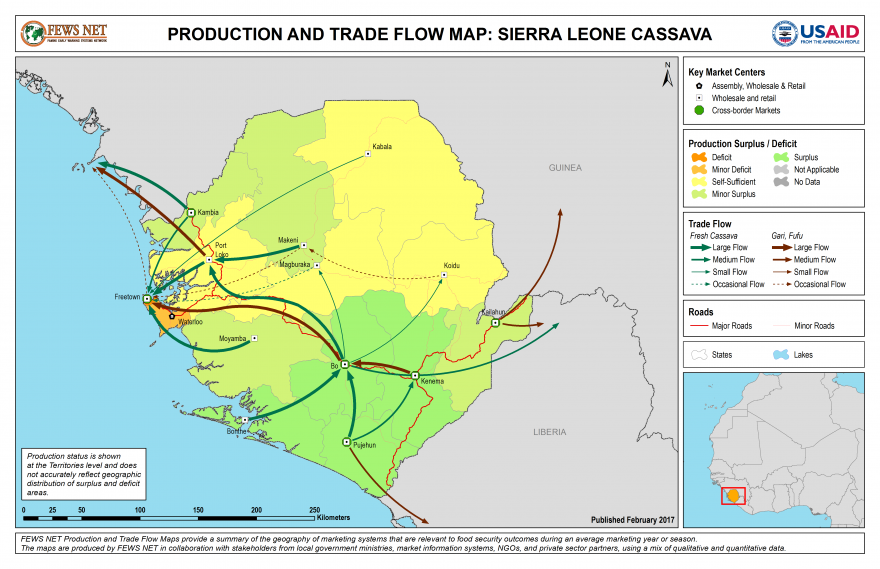 Cassava Production and Trade Flow Map Sierra Leone