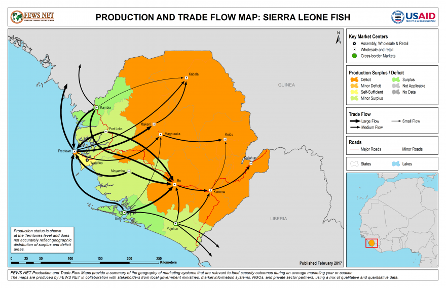 Fish Production and Trade Flow Map Sierra Leone