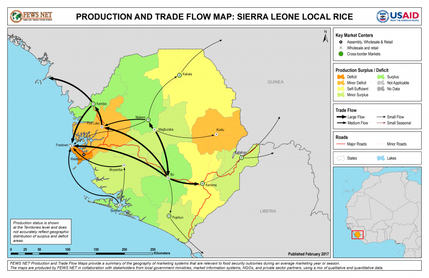 Rice Production and Trade Flow Map Sierra Leone