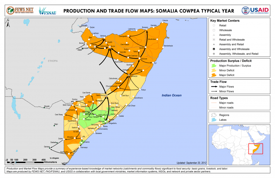 Somalia Production and Trade Flow Map Cowpeas