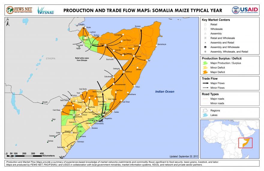 Somalia Production and Trade Flow Map Maize