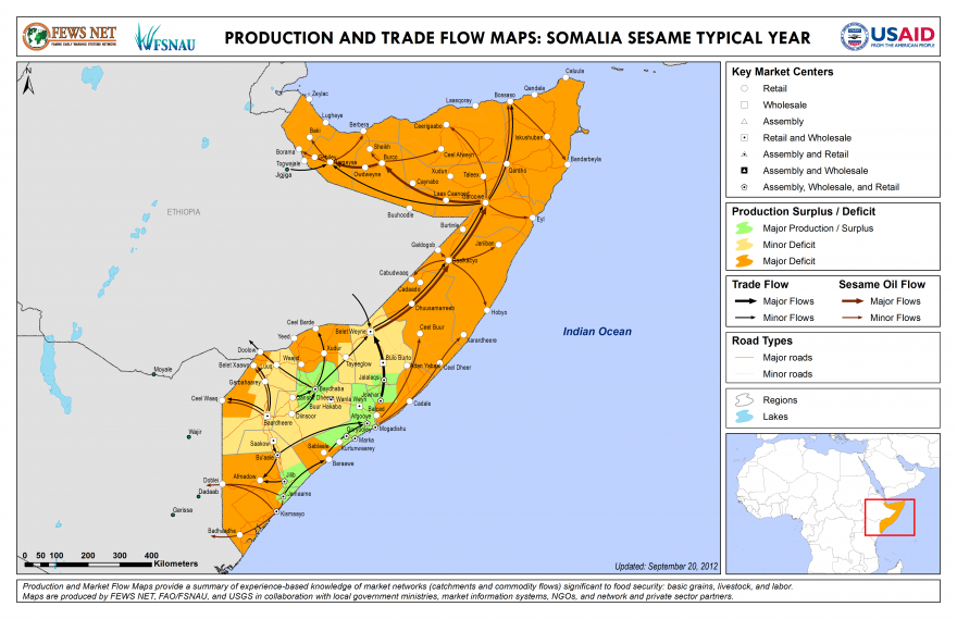 Somalia Production and Trade Flow Map Sesame