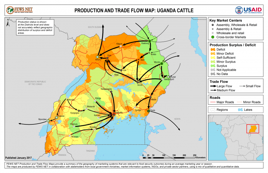 Uganda Cattle Production and Trade Flow Map