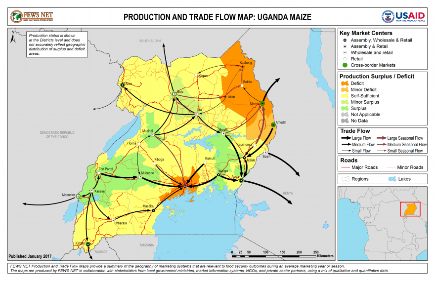 Uganda Maize Production and Trade Flow Map