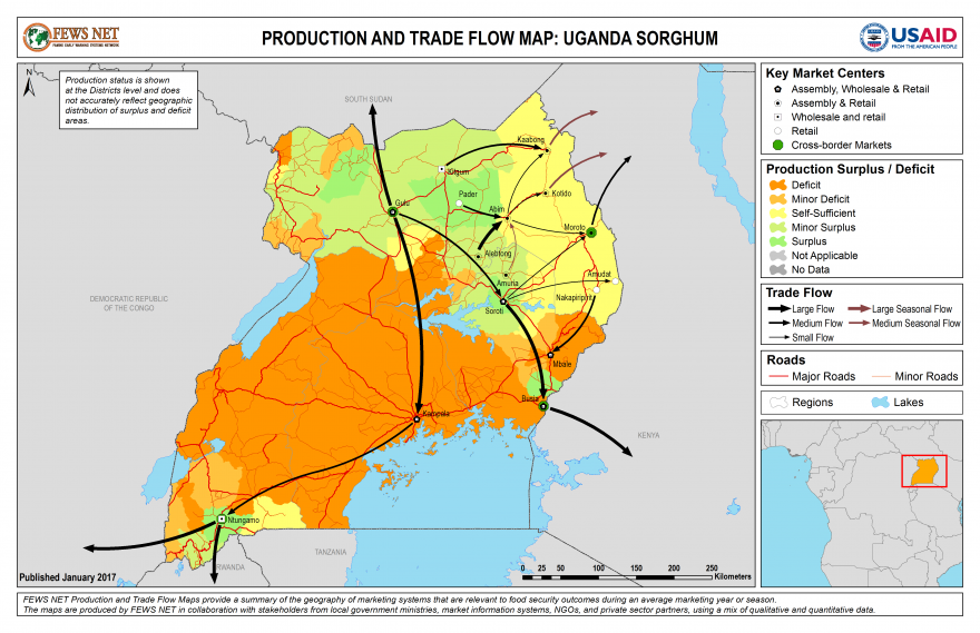 Uganda Sorghum Production and Trade Flow Map