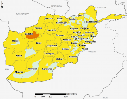 Projected food security outcomes, June to September 2019. Minimal (IPC Phase 1) and Stressed (IPC Phase 2) are expected to be widespread with Crisis (IPC Phase 3) continuing in areas of Badghis.