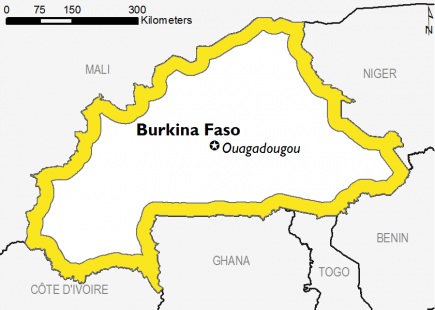 Map of Burkina Faso: Stressed (IPC Phase 2) from February to May 2019