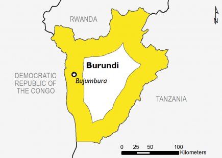 Map of Burundi illustrating a yellow outline to represent Stressed (IPC Phase 2) conditions