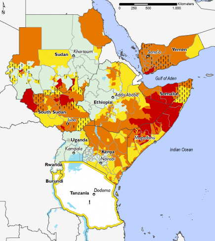 East Africa, Food Security, August to September 2017