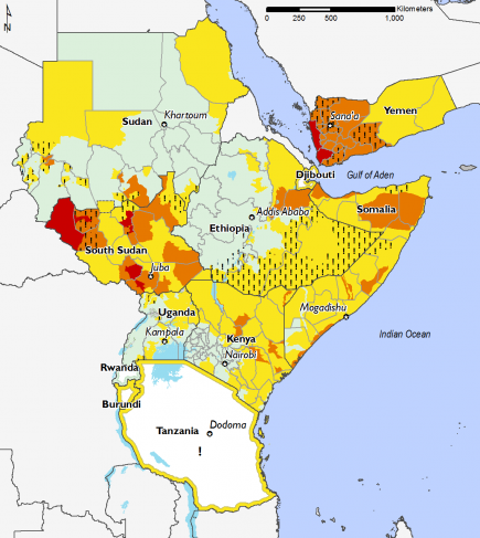 East Africa, Food Security, December 2016 to January 2017