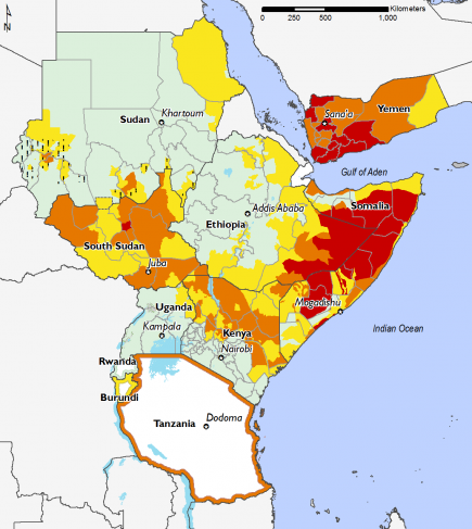 East Africa, Food Security, June to September 2017