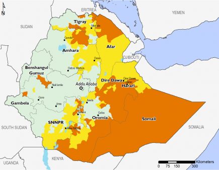 Map of Projected food security outcomes, June to September 2019: Minimal (IPC Phase 1) in most of the west of Ethiopia; Stressed (IPC Phase 2) in parts of Afar, Tigray, Oromia, SNNPR, and Somali; Crisis (IPC Phase 3) in parts of Somali, Oromia, Afar, Tigray, Amhara, Dire Dawa, and SNNPR