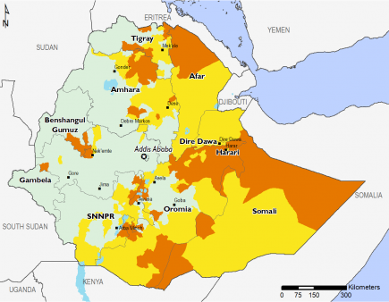 Map of Projected food security outcomes, June to September 2019: Most of the western part of the country is in Minimal (IPC Phase 1) with isolated areas in Stressed (IPC Phase 2) and Crisis (IPC Phase 3).  Afar is in Stressed (IPC Phase 2) and Crisis (IPC