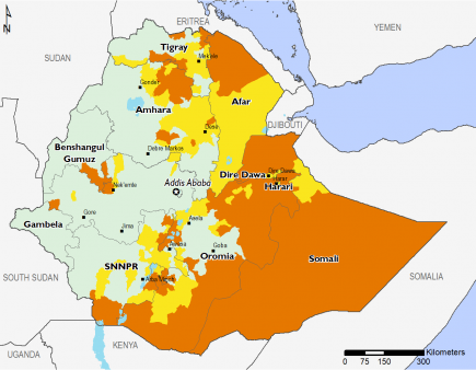 Map of Projected food security outcomes, June to September 2019 : Minimal (IPC Phase 1) throughout most of Western Ethiopia, Stressed (IPC Phase 2) in parts of SNNPR, Dire Dawa, Harari, Afar, Tigray, and Amhara, Crisis (IPC Phase 3) in most of Somali and