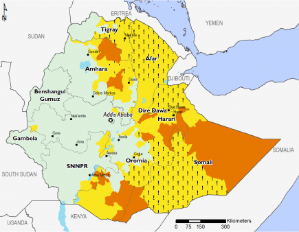 Crisis (IPC Phase 3) outcomes are projected across large areas of Somali Region, eastern Amhara, portions of Oromia, and in Gedeo in SNNPR.