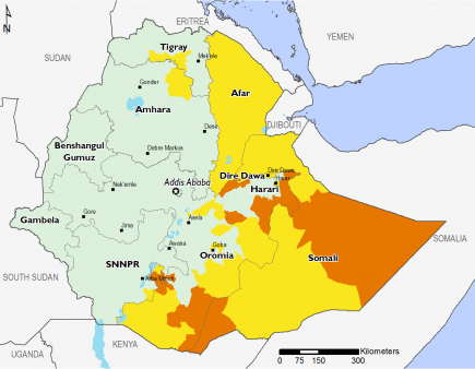 Crisis (IPC Phase 3) outcomes are projected to persist across large areas of Somali Region and in areas along the border with Oromia. Stressed (IPC Phase 2) outcomes are expected in Afar, western Oromia, and small areas in southern Tigray and northeastern