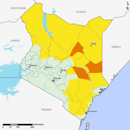 Kenya August 2016 Food Security Projections for August to September