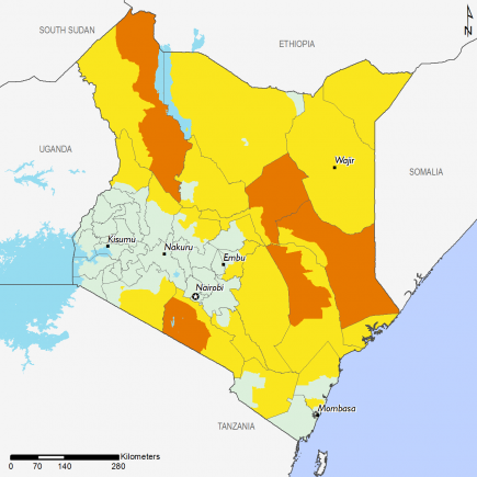 The map shows Crisis (IPC Phase 3) outcomes in parts of Isiolo, Tana River, Garissa, Kajiado, and Turkana.