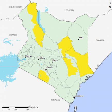 The map shows Stressed (IPC Phase 2) outcomes in parts of Isiolo, Tana River, Garissa, Kajiado, and Turkana.